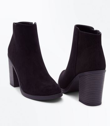 Black Comfort Suedette Faux Snake Panel Ankle Boots New Look