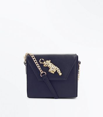 Black Leopard Embellished Box Shoulder Bag New Look