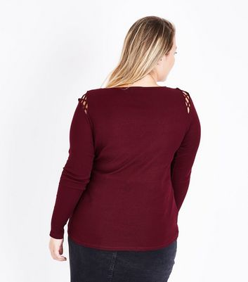 Curves Burgundy Lattice Shoulder Long Sleeve Top New Look