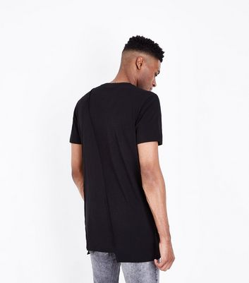 Black Panel Front T-Shirt New Look