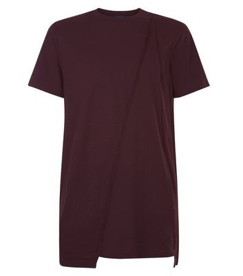 Burgundy Panel Front T-Shirt New Look