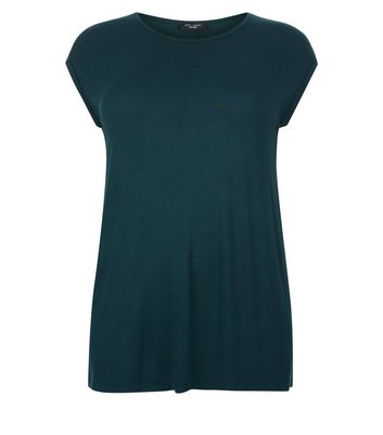 Curves Dark Green Cap Sleeve T-Shirt