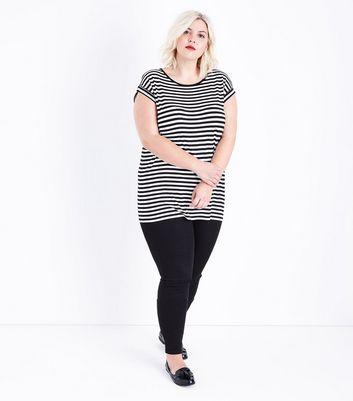 Curves Black Stripe Short Sleeve T-Shirt New Look