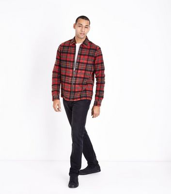 Red Zip Through Check Shirt New Look