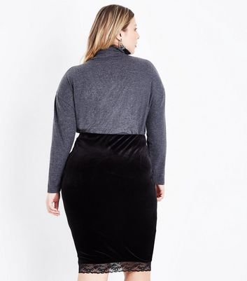 Curves Dark Grey Roll Neck Long Sleeve Top New Look