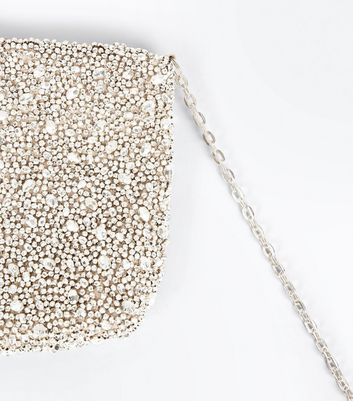 Gold Beaded Flat Clutch Bag New Look