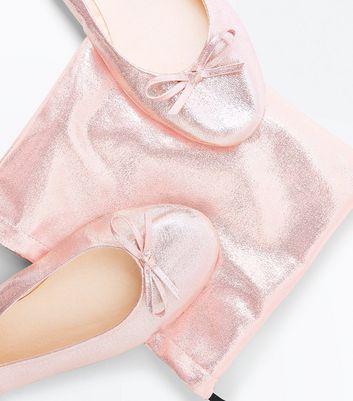 Rose Gold Shimmer Foldover Ballet Pumps New Look