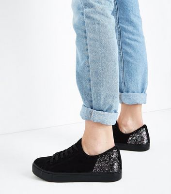 Black Suedette Iridescent Sequin Back Lace Up Trainers New Look