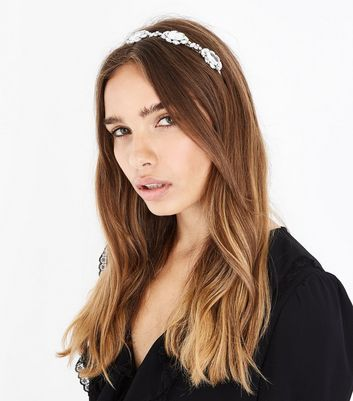 Silver Teardrop Stone Headband New Look