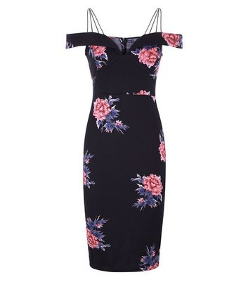 AX Paris Black Floral Strappy Bardot Neck Dress New Look