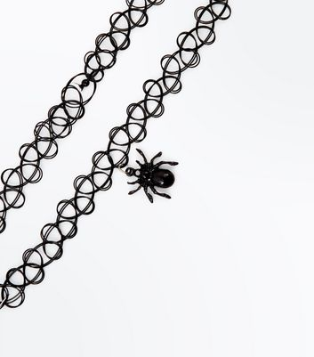 Black Spider Tattoo Choker New Look