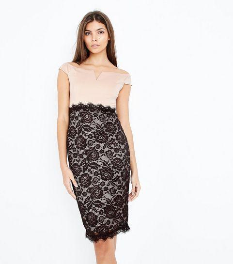 dd57a8b7b5d ... AX Paris Pale Pink Lace Bardot Dress ...