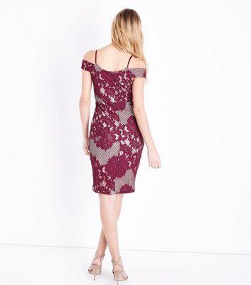 AX Paris Red Lace Mesh Midi Dress New Look