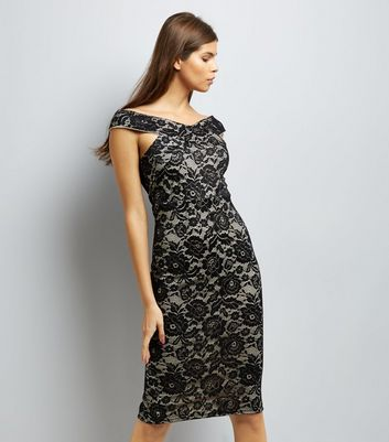 AX Paris Black Lace Cross Front Midi Dress New Look