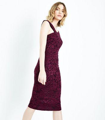 AX Paris Purple Lace Cross Front Midi Dress New Look