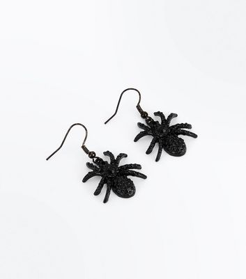 Black Gem Embellished Spider Earrings New Look