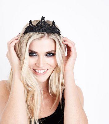 Black Lace Tiara New Look