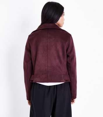 Petite Burgundy Suedette Biker Jacket New Look