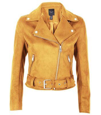 Petite Mustard Yellow Suedette Biker Jacket New Look