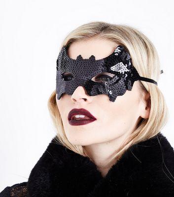 Halloween Black Sequined Bat Mask New Look