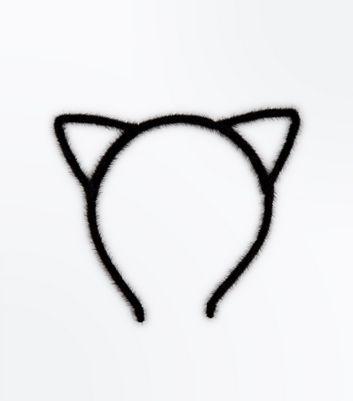 Black Halloween Faux Fur Cat Ears New Look