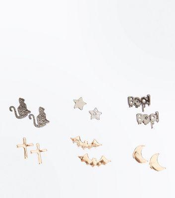 6 Pack Metallic Halloween Stud Earrings New Look
