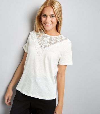 White Lace Yoke T-Shirt New Look