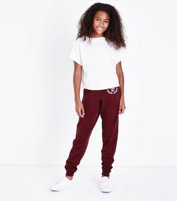 Teens Burgundy NYC Logo Joggers New Look