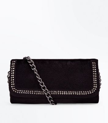 Black Faux Pony Hair Diamante Embellished Clutch Bag New Look