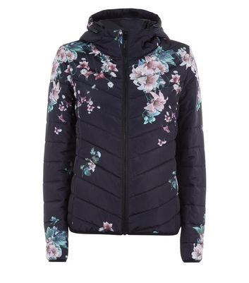 JDY Black Floral Print Quilted Jacket New Look