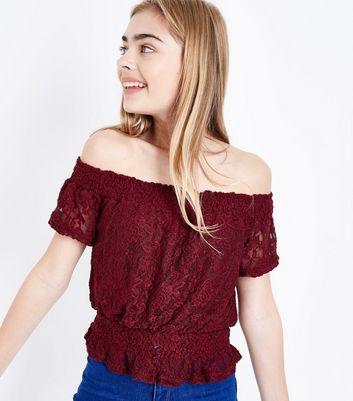 Teens Burgundy Lace Shirred Waist Bardot Top New Look
