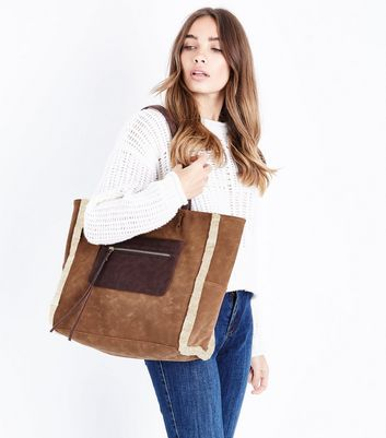 Tan Faux Shearling Lined Tote Bag New Look