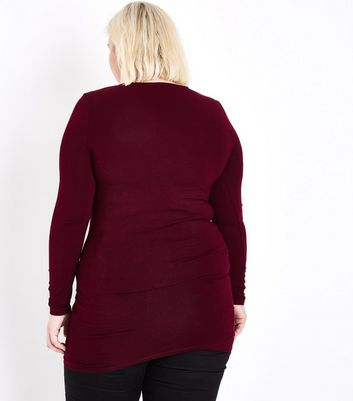Curves Burgundy Long Sleeve Tunic Top New Look