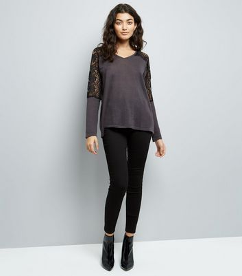 Mela Grey Lace Shoulder Jumper New Look