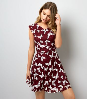 Mela Rust Butterfly Print Dress New Look