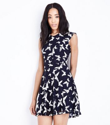 Mela Navy Lace Butterly Dress New Look