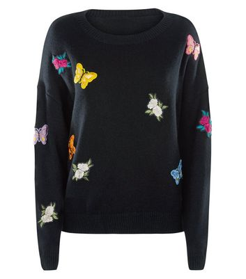 Mela Black Butterfly Embroidered Badge Jumper New Look