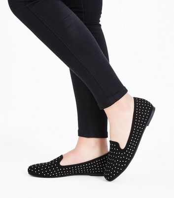 Teens Black Suedette Studded Loafers New Look