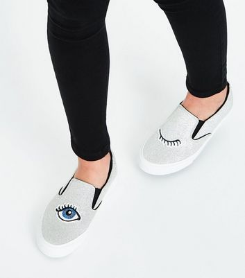 Teens Silver Glitter Eye Embroidered Slip On Trainers New Look