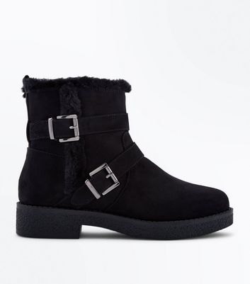 Girls Black Suedette Buckle Side Biker Boots