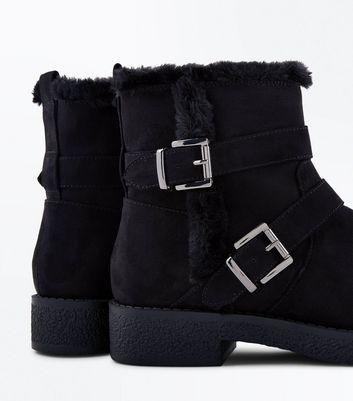 Teens Black Suedette Buckle Side Biker Boots New Look