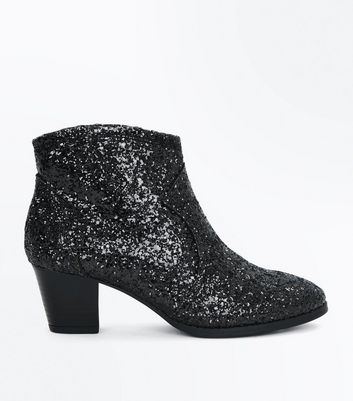 Teens Black Glitter Western Boots New Look