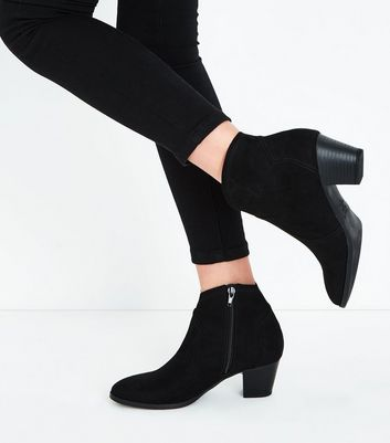 Teens Black Suedette Heeled Western Boots New Look