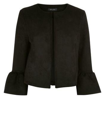 Black Bell Sleeve Suedette Jacket New Look