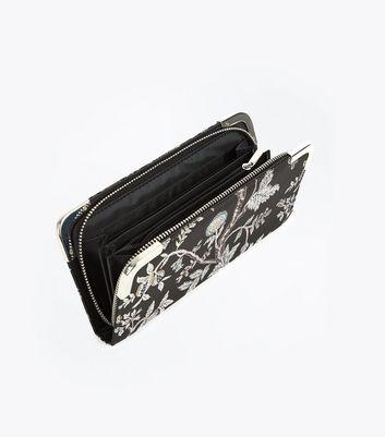Black Floral Jacquard Zip Around Purse New Look
