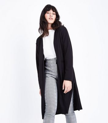Mela Black Belted Duster Jacket New Look