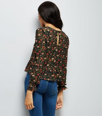 Black Floral Print Lace Peplum Hem Top New Look