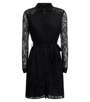 Mela Black Lace Belted Shirt Dress New Look