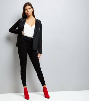 Mela Black Leather-Look Blazer New Look
