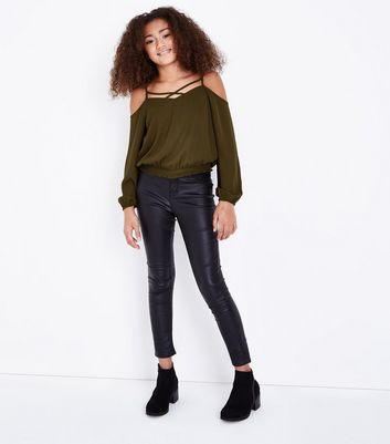 Teens Khaki Lattice Neck Shirred Hem Top New Look